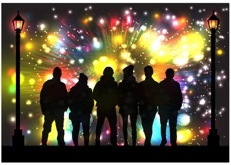 Silhouettes celebrate the new year. Zdjęcie Seryjne - 125643432