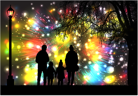 Fireworks Party.Silhouette family. Ilustracja