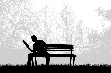 Silhouette of a man with a book. Zdjęcie Seryjne - 125643435