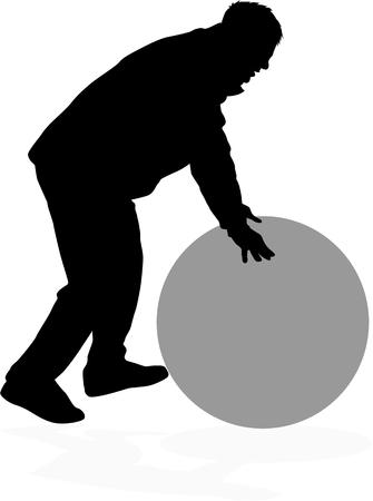 Man rolling balls.