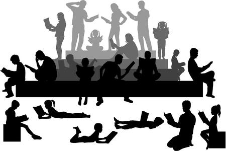 Silhouettes of people with a book. Zdjęcie Seryjne - 125643448