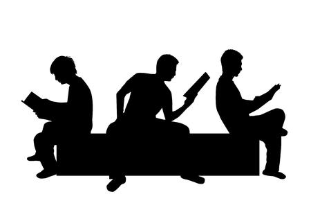 Silhouette of a man with a book. Zdjęcie Seryjne - 125643452