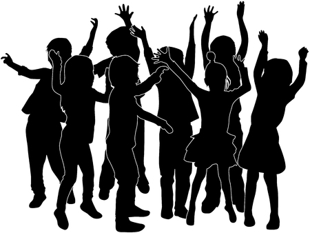 Group of childrens silhouettes.
