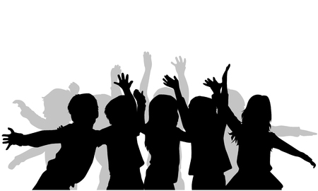 Group of children's silhouettes.