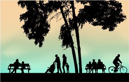Menschen Silhouetten städtischen Hintergrund.