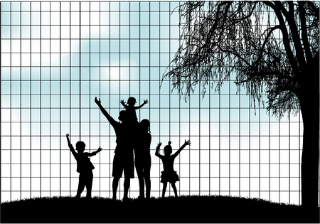 Family silhouettes in nature Ilustracja
