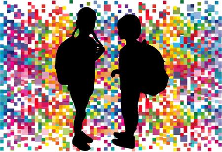 Silhouette of a child with a backpack . Zdjęcie Seryjne - 125643464