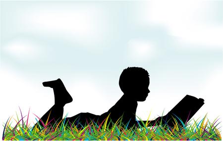 Reading books on nature. Illustration