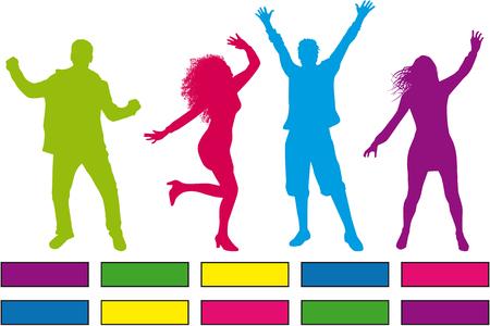 Dancing people silhouettes. Vector work. Zdjęcie Seryjne - 125643467