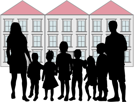 Family silhouettes and house