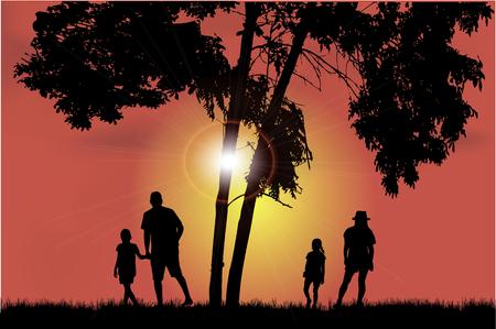 Family walk at sunset Zdjęcie Seryjne - 125643471