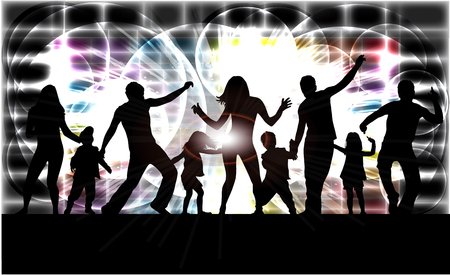 Family silhouettes . Abstract background.