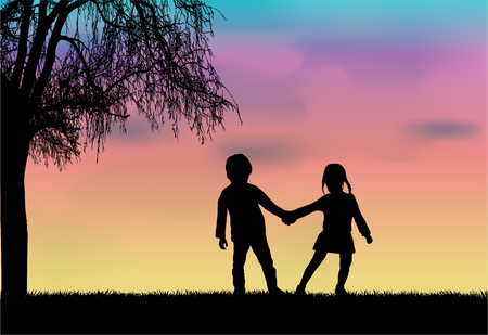 Children silhouette in nature . Vektoros illusztráció