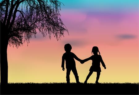 Kinderen silhouet in de natuur. Vector Illustratie