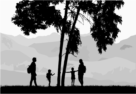 Silhouette family of mountains in the background.