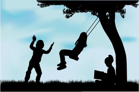 Silhouettes of children playing. Zdjęcie Seryjne - 125643480