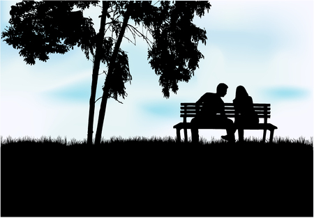 Silhouettes of couples. Vector work. Ilustracja