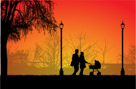 Family on a walk. Silhouettes of people