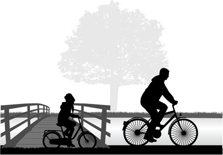 Father and daughter on a bike.