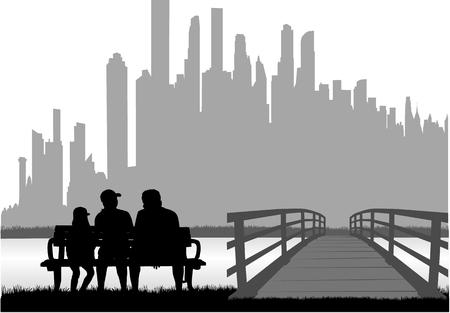 Family silhouettes in nature. Zdjęcie Seryjne - 125643492