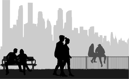 People silhouettes,urban background.