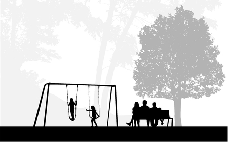 Family of silhouettes in the park. Ilustracja