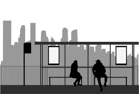 Street of the city . Bus stop. Ilustracja