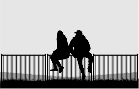 Silhouettes of a couple of people Ilustracja