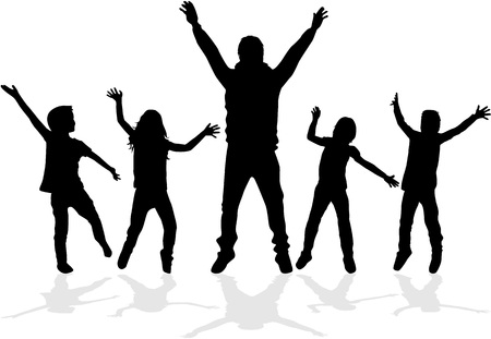 Dancing silhouettes of children. Ilustrace
