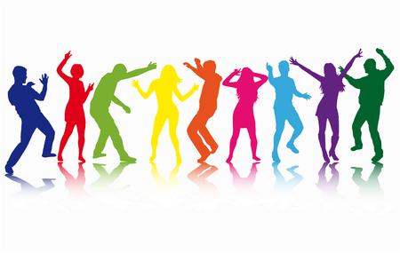 Tanzende Menschen Silhouetten. Vektorarbeit. Vektorgrafik