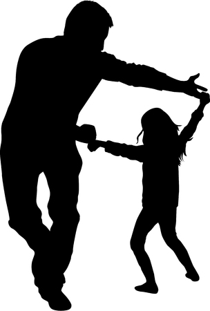 Happy family. Dancing silhouettes. Stock Illustratie