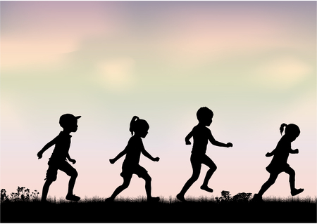 Children silhouettes in nature. Ilustrace