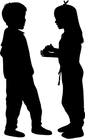 Two children talking , black silhouettes conceptual.