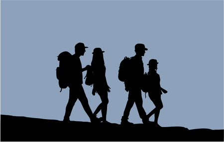 Silhouettes of people walking. Stock Illustratie
