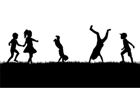 Silhouettes of children playing. Silhouettes conceptual. Stock Illustratie