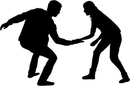 Black people silhouettes. Stock Illustratie