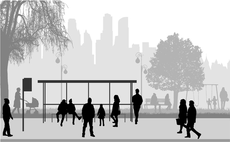 People silhouettes urban background. Stock Illustratie