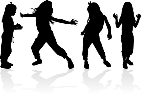 Dancing children silhouettes.