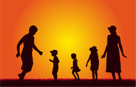 Happy family. Dancing silhouettes. Illustration