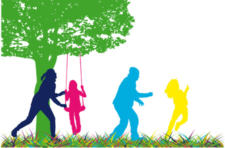 Family of silhouettes. Vector work. Stock Illustratie