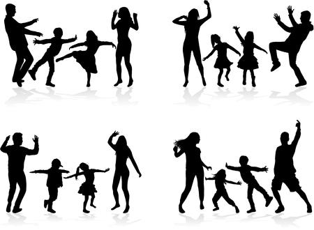 Gelukkig gezin. Dansende silhouetten.