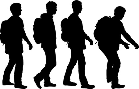 Silhouette of a man with backpack - traveler.