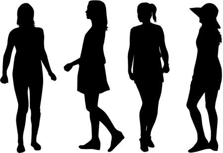 Sylwetka kobiety. Ilustracje wektorowe