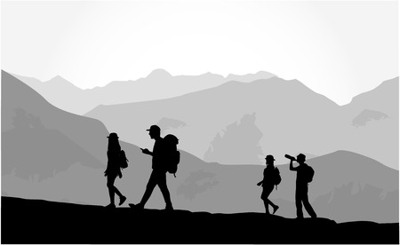 Walk in the mountain climate. Ilustracja