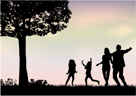 Family silhouettes in nature Stock Illustratie