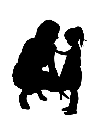 Moms silhouette with a child.