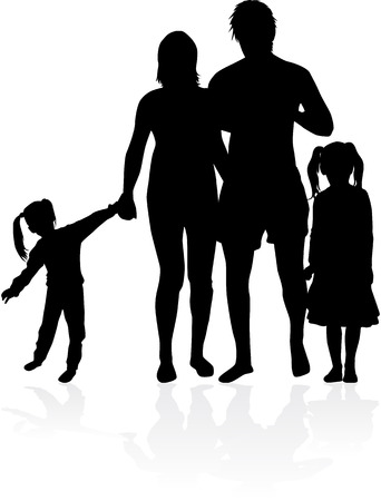 Vector silhouette of family. Ilustrace