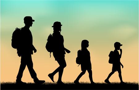 Family reaching with backpacks on a trip. Zdjęcie Seryjne - 124262454