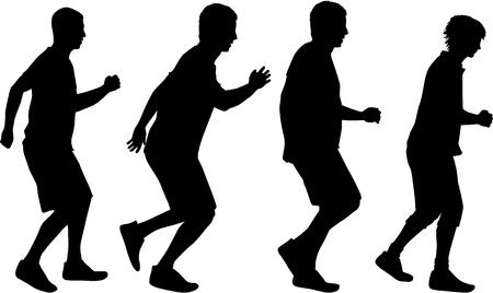 Silhouettes of running men. Ilustrace