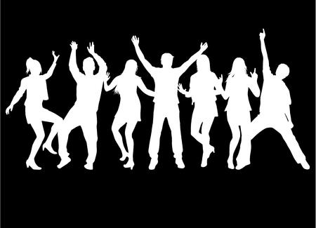 Tańczące sylwetki ludzi. Praca wektorowa.